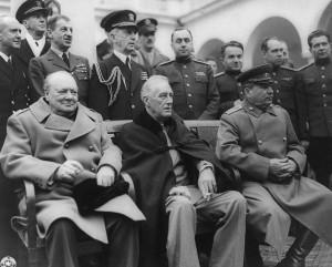 Prime Minister Winston Churchill, President Franklin D. Roosevelt, and Marshal Joseph Stalin at Yalta