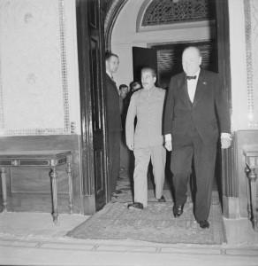 Winston Churchill and Joseph Stalin at the British Legation in Tehran, Iran, 30 Nov 1943