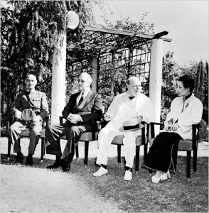 Chiang Kaishek, Franklin Roosevelt, Winston Churchill, and Song Meiling at Cairo, Egypt, Nov 1943